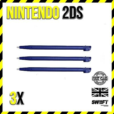 NEW 3x Blue Plastic Stylus Touch Pens for Nintendo 2DS