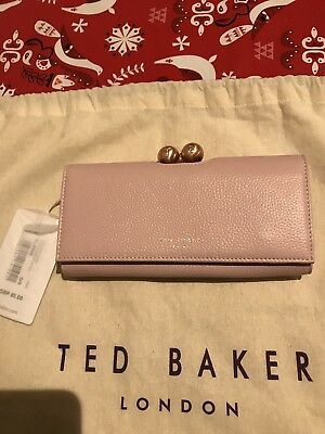 964e51ca5e3f18 NEW TED BAKER Poudre Large Leather Matinee Pale Pink Zip Popper ...