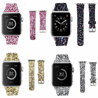 FOR Apple Watch Band Series 1 2 3 42-38-44-40mm Leather Glitter Bling WristStrap