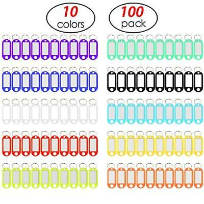 YUEAON 100 Pack Tough Plastic Key Tags with Label Window ID Luggage tag with ...