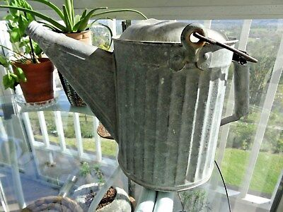 VINTAGE GALVANIZED METAL WATERING CAN Hold apx 2 gal, No spray head SHIPS FREE