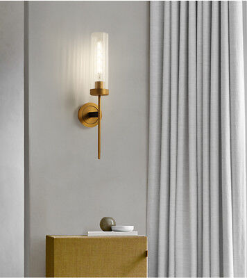 American Country Glass Shade Sconce Antique Brass Finish E27 Light Wall Lamp