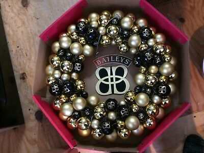 BAILEY'S IRISH CREAM  BLACK and GOLD ornaments CHRISTMAS HOLIDAY WREATH STEELERS