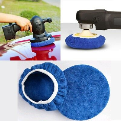 "5-6"" 7-8"" Microfiber Car Polishing Waxing Bonnet Buffing Pad Cover Blue"