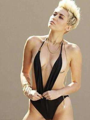 GLOSSY PHOTO PICTURE 8x10 Miley Cyrus Sexy Black Swimsuit