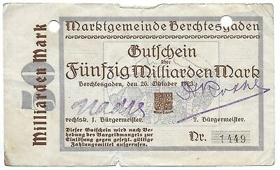 """Germany, Weimar Republic """"50 Billion Marks"""" Note Scarce, Dated  26 October,1923"""