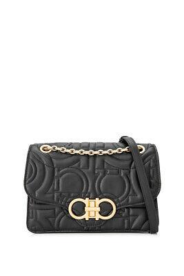3b07c6b87128 Salvatore Ferragamo Quilted Gancini Flap Bag (Black  Calfskin Leather)