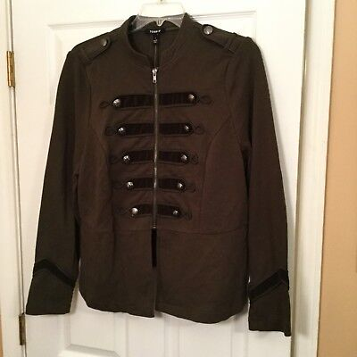 115df597d1e Torrid Olive Green Embellished Zip Front Military Jacket Size 1 1XL NWT