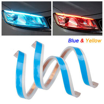 12V Blue & Yellow LED Slim Strip Light Daytime Running Sequential Flow Signal