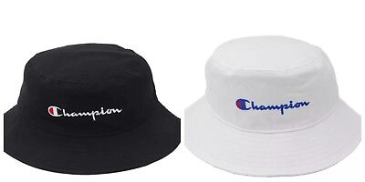 2018 Champion Bucket Cap Hat Black White Snapback Free Size Adjustable New 1a12c4d724df