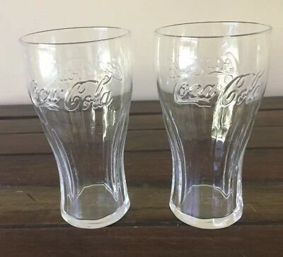 2 Clear Coca Cola Coke 370ml Badged Drinking Glasses Excellent condition