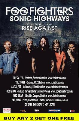 FOO FIGHTERS 2015 Laminated Australian Tour Poster