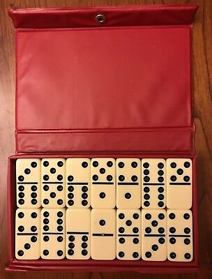 Vintage Set Double Six Dominoes By Cardinal in Original Red Vinyl Travel Case