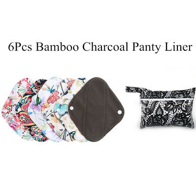 6pcs Waterproof Reusable Menstrual Sanitary Cloth Pads Panty Liner Sets