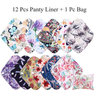 13 Pcs Waterproof Reusable Menstrual Sanitary Cloth Pads Panty Liner Sets