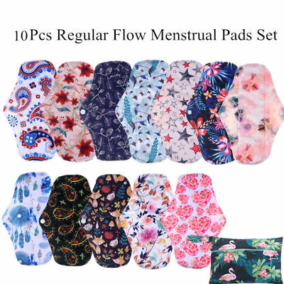 10Pcs Regular Flow Bamboo Charcoal Menstrual Cloth Sanitary Pads Set  Waterproof