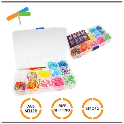 2x Loom Band Kit Rubber Refill Rainbow with Hook and Y Tool 360 Bands Each