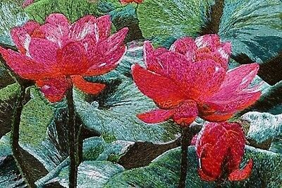 Red Green Lotus Flowers Finished Art Embroidery Needlepoint 16 x 20 Silk Mat
