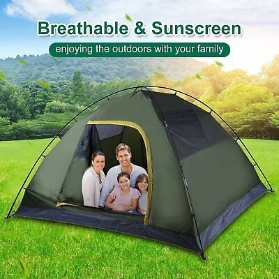 4 Person Double Layer Instant Pop Up Large Camping Tent Outdoor Shelter QFSS