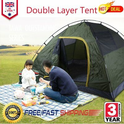 4 Person Double Layer Instant Pop Up Large Camping Tent Outdoor Shelter NG
