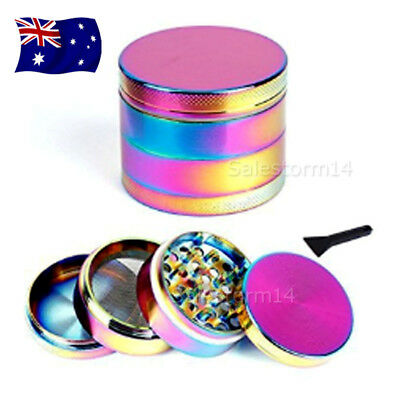 Metal Alloy Rainbow Tobacco Herb Grinder 4 Layers Hand Muller Smoke Crusher AU