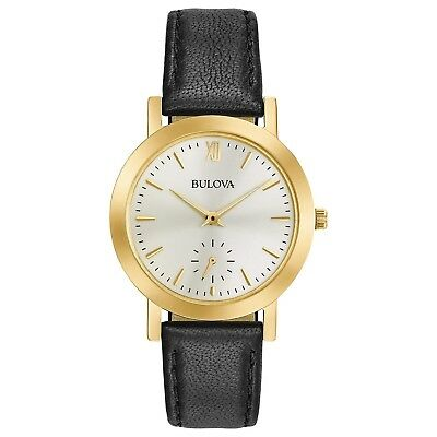 Bulova Women's Quartz Stainless Steel and Leather Casual Watch, Color:Black (...
