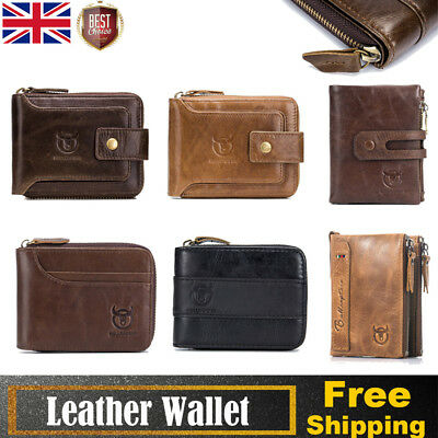 BULLCAPTAIN Vintage Men's Wallet Purse Genuine Leather RFID Blocking Casual CHIC