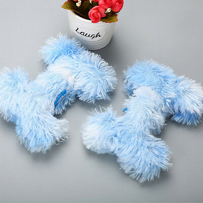 Multicolor Pet Dog Chew Toy Fluffy Bone Sound Puppy Bite Play Plush Toy Gift N7