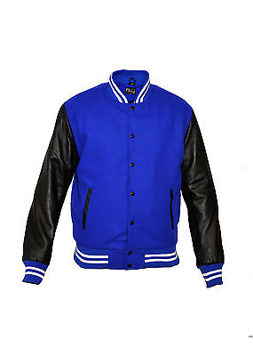Top quality Royel blue Varsity Letterman Wool Jacket with Leather Sleeves