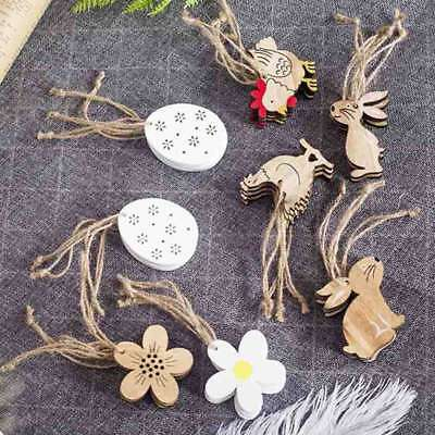 8 Pcs Wooden Chicken Rabbit Easter Hanging Decorations Home Ornament Decoration