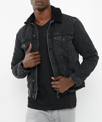 New Look Brand NEW Mens Borg Fleece Lined Denim Jean Jacket Coat Sizes XS to XXL