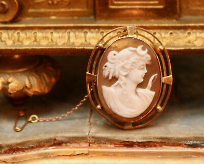 An Exquisite Antique Shell Carved Cameo Portrait Brooch, 9ct Rose Gold Mount