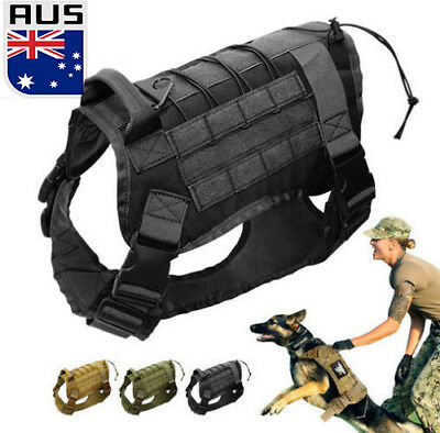 AU Tactical Large Dog Training Vest Harness Military K9 Water Resistant Harness