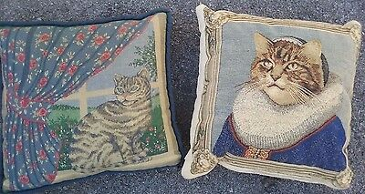 Set of 2 Large Tabbie Cat Tapestry Pillows