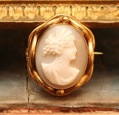 An Exquisite Antique Shell Carved Cameo Portrait Brooch, Yellow Metal