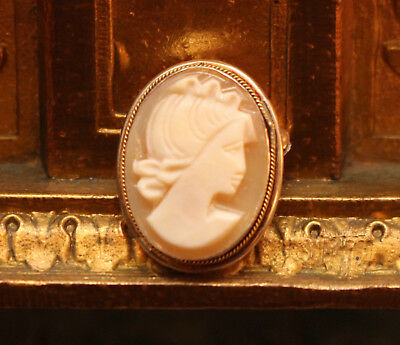 An Good Antique Shell Carved Cameo Portrait Brooch, Continental Silver Mount