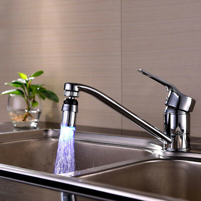 LED Light 7Color-Changing Shower Spout Sink Tap Glow Water Stream Faucet Kitchen