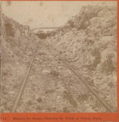 Rare Beckwith 1875 Photo Stereoview Ransom Ice Gorge Clearing Track Coxton Depot