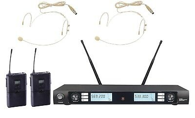 Wireless Microphone System UHF Cordless Microphone Set with 2 Headset Mic Mike