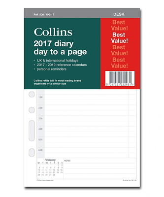 """Collins""""Desk Organiser Day A Page 2017"""" Refill Diary"""