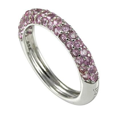 925 Sterling Silver Pave Pink Cubic Zirconia Band Ring - Size M