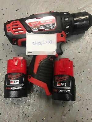 """NEW Milwaukee 2407-20 M12 12V Li-Ion 3/8"""" Drill Driver and (2) Battery"""