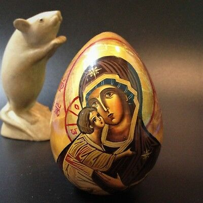 Russian Orthodox 10cm Lacquered Wooden Egg - Madonna & Child - Decoupage