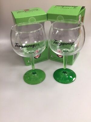 Tanqueray Gin Large Green Steamed Balloon Glass Brand New.BOXED.COLLECTABLES X 2