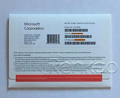 Microsoft Windows 10 Pro Professional 64 bit Full Version DVD & Laptop~*