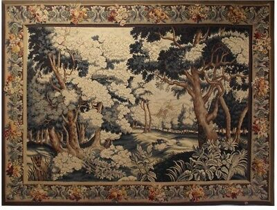 ANTIQUE TAPESTRY 19th Century signed AUBUSSON wool and silk