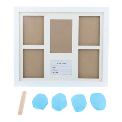 Baby Keepsake Footprint Hand Print Photo Frame Ink Pad Picture-Light Blue