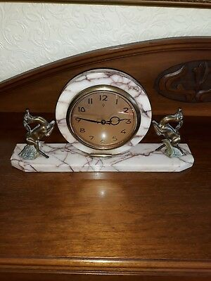 French Marble / Gazelle  Deco Clock 1930s