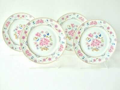 Gorgeous Bernardaud Limoges Famille Rose Four Bread And Butter Plates Pink Blue