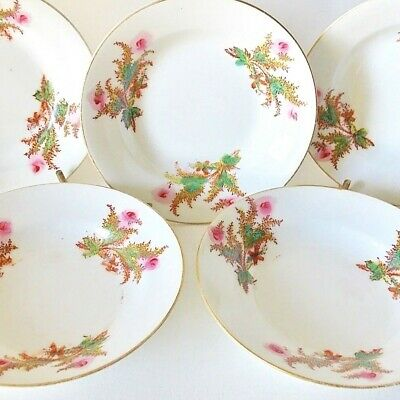 Five Hand Painted Antique French Limoges Moss Rose Fruit Berry Bowls Pink White